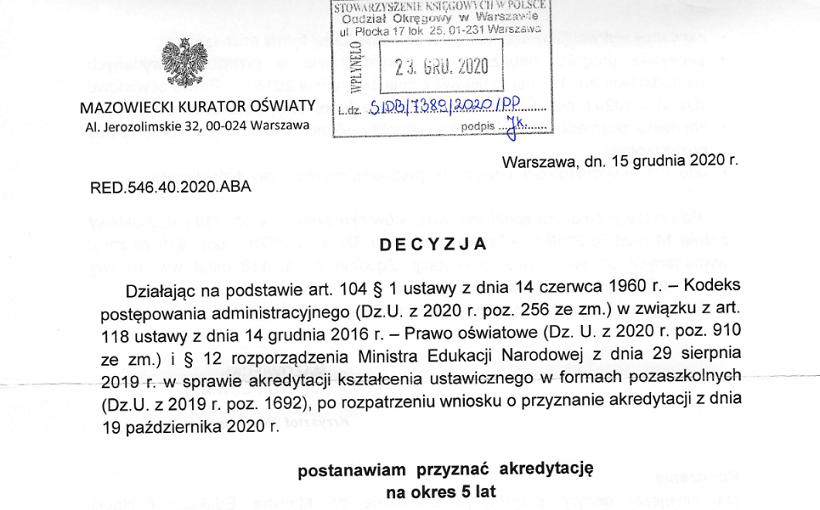 Akredytacja Mazowieckiego Kuratora Oświaty