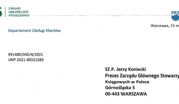 Odpowiedź z ZUS na pismo SKwP z 30 kwietnia br.